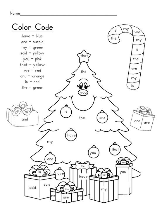 sight word tree by christy Winter Christmas Color by
