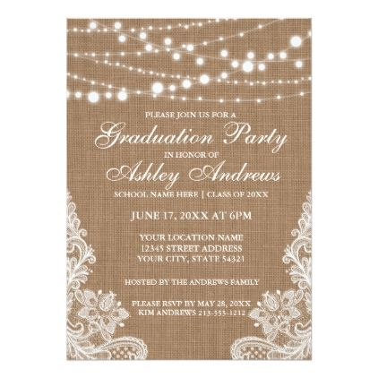 Rustic Burlap Lights Lace Graduation Invitation graduation party