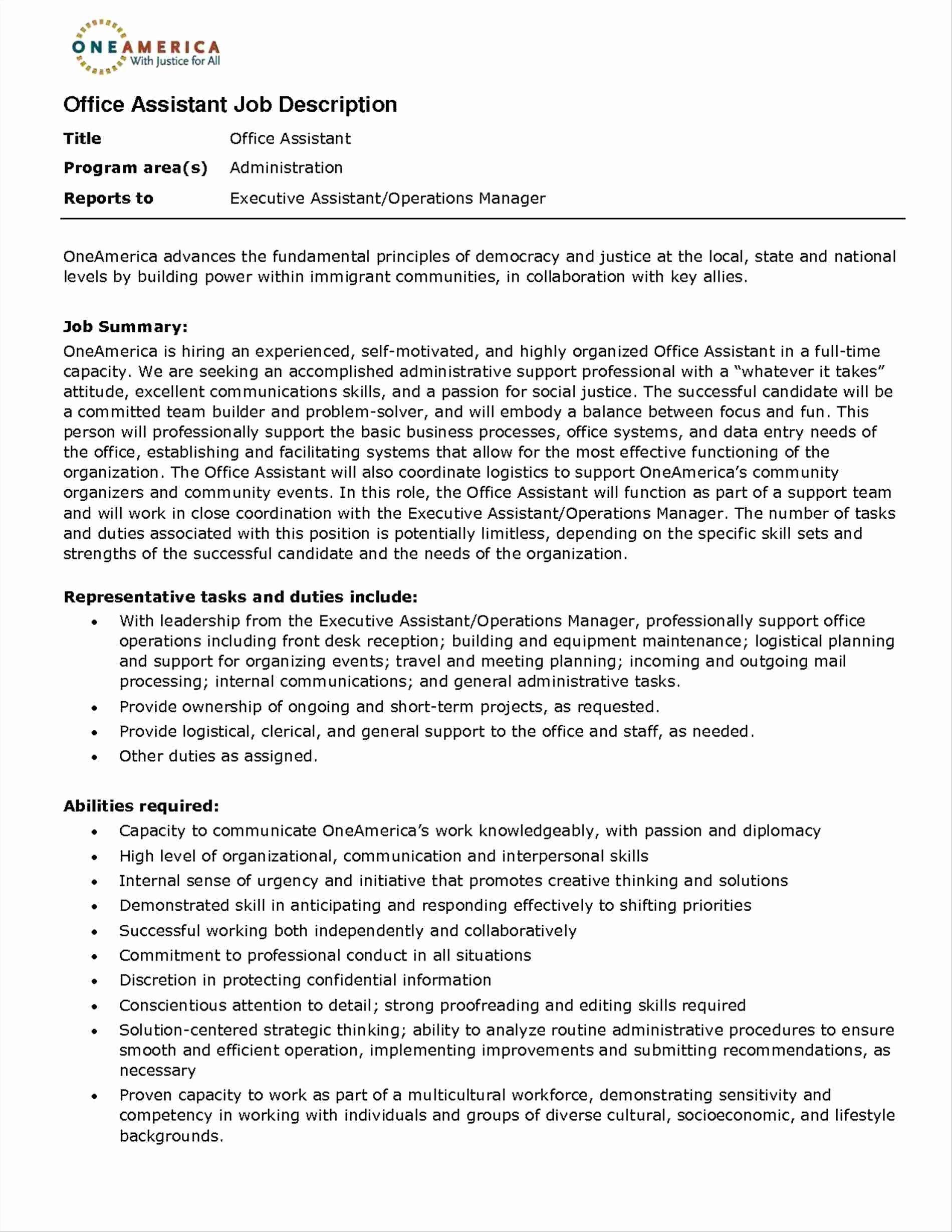 Admin assistant Job Description Resume Fresh 10 Office