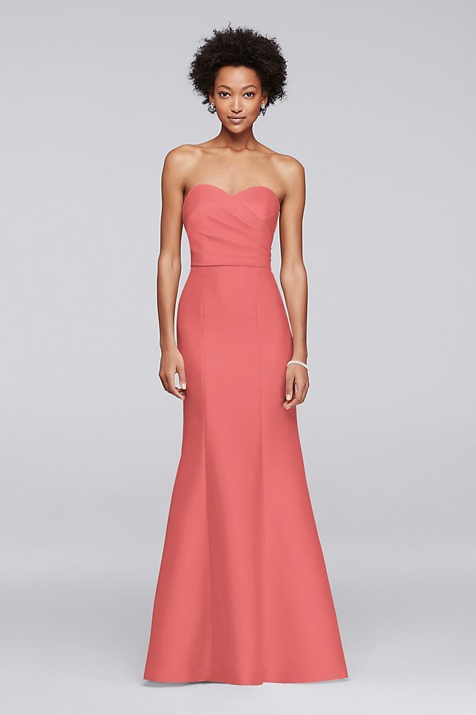 14f9a567895 Structured silky mikado evokes Hollywood glamour from the strapless pleated  bodice to the fit-to-flare skirt of this long bridesmaid dress.