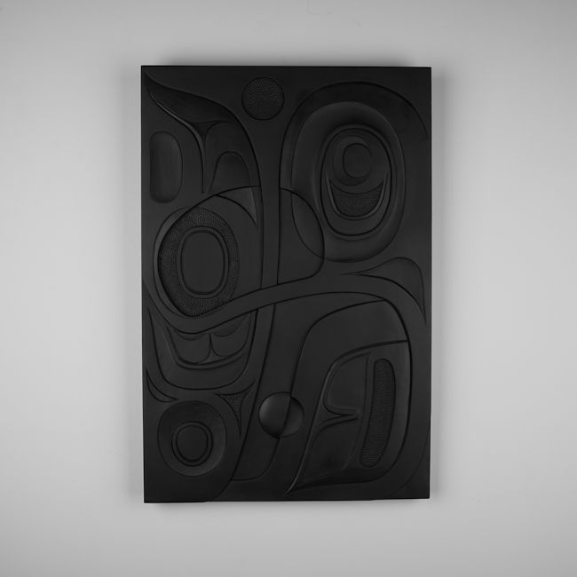 """""""Abstract"""" red cedar panel by Haida artist Don Yeomans"""