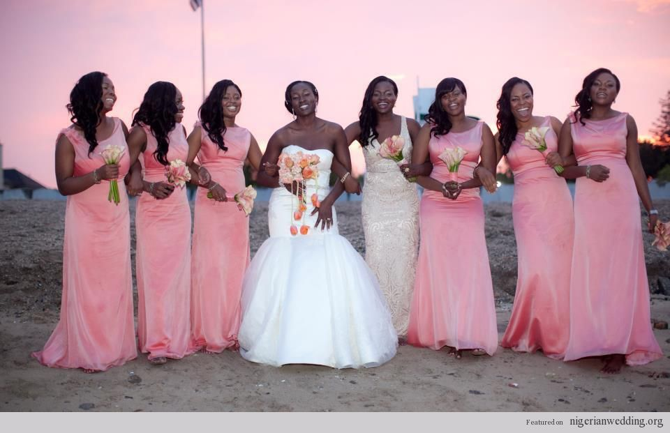 I love the idea of the maid/s of honor in a different color dress to ...
