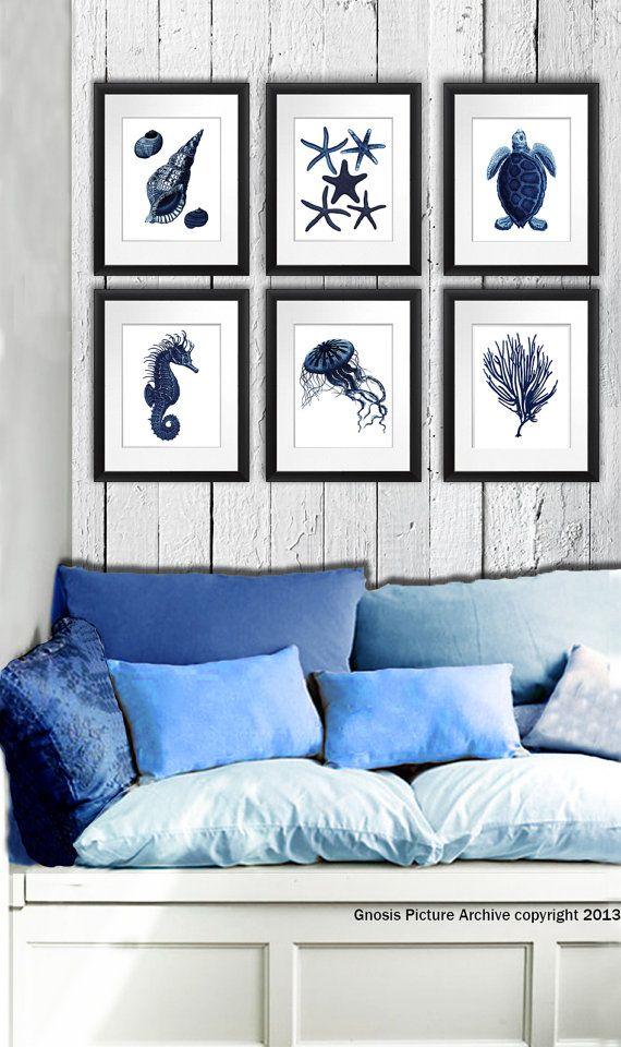 Beach decor dark navy blue beach decor set of 6 art prints seashells seahorse jellyfish sea turtle starfish housewarming gift for her