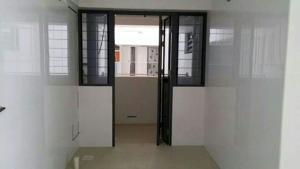 Kitchen With Black Frame Bi Fold Door Leading To The Service Yard Bifold Doors Room Divider Home Decor