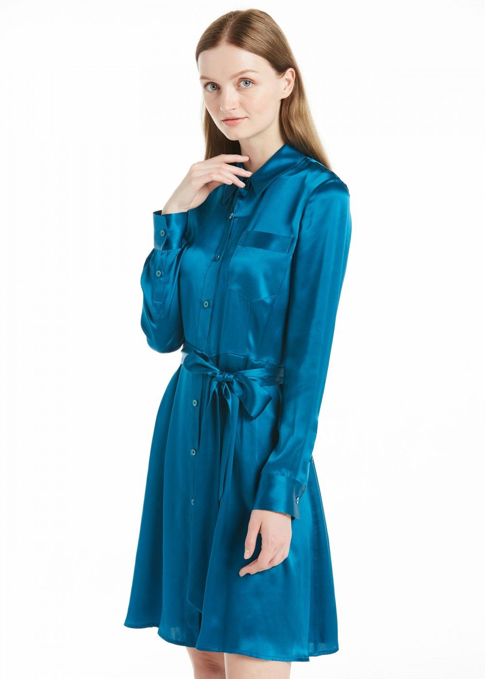be00d204eb70b5 Waist Pleated Silk Dress in 2019   Capsule Dose   Silk Dress, Silk ...