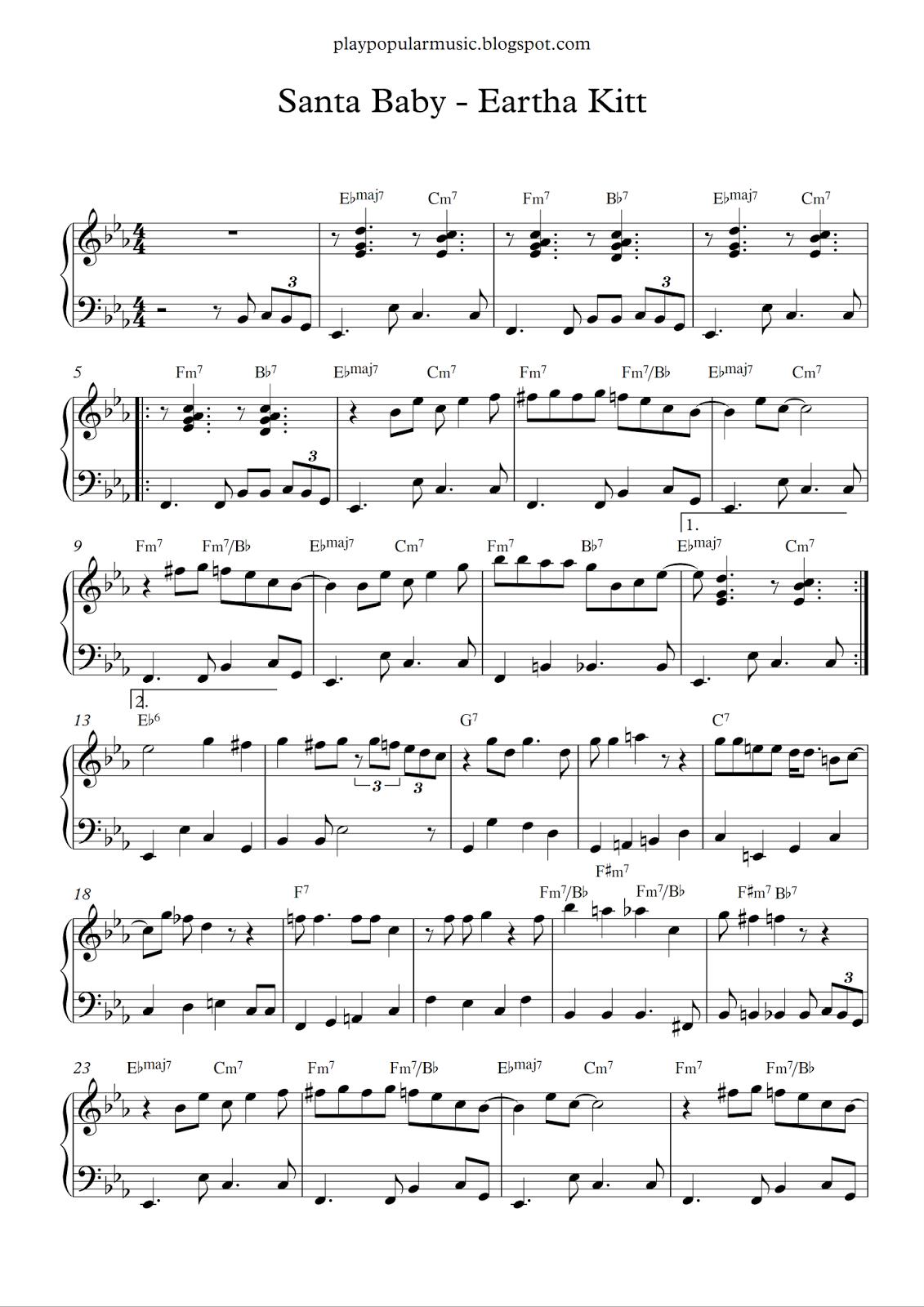 Free Piano Sheet Music Santa Baby Eartha Kittpdf Ill Wait Up