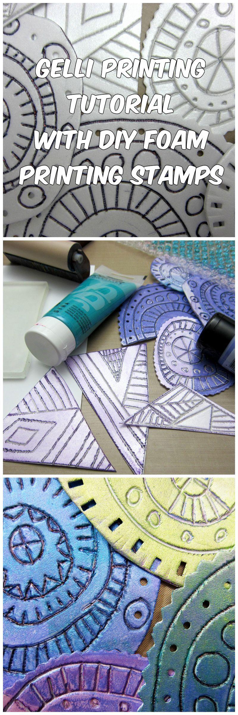 Gelli Printing Tutorial with DIY Foam Printing Stamps!