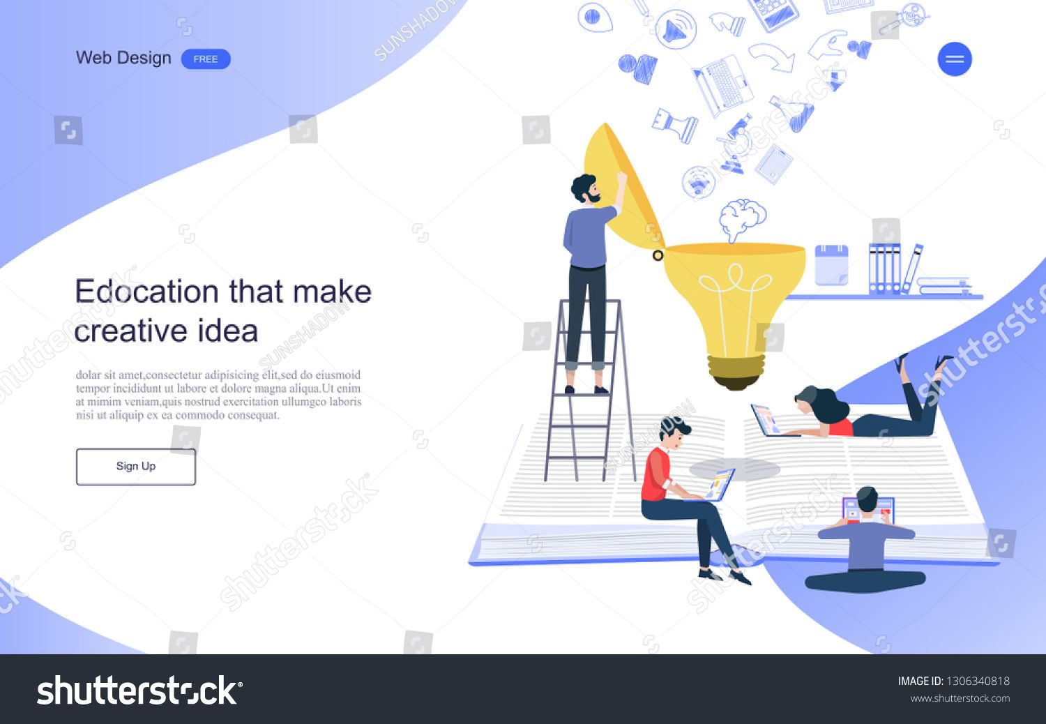 Flat Design Web Banner Concept Of Education That Creates Creativity Learning And Educational Development Online Learnin Web Design Web Banner Online Learning