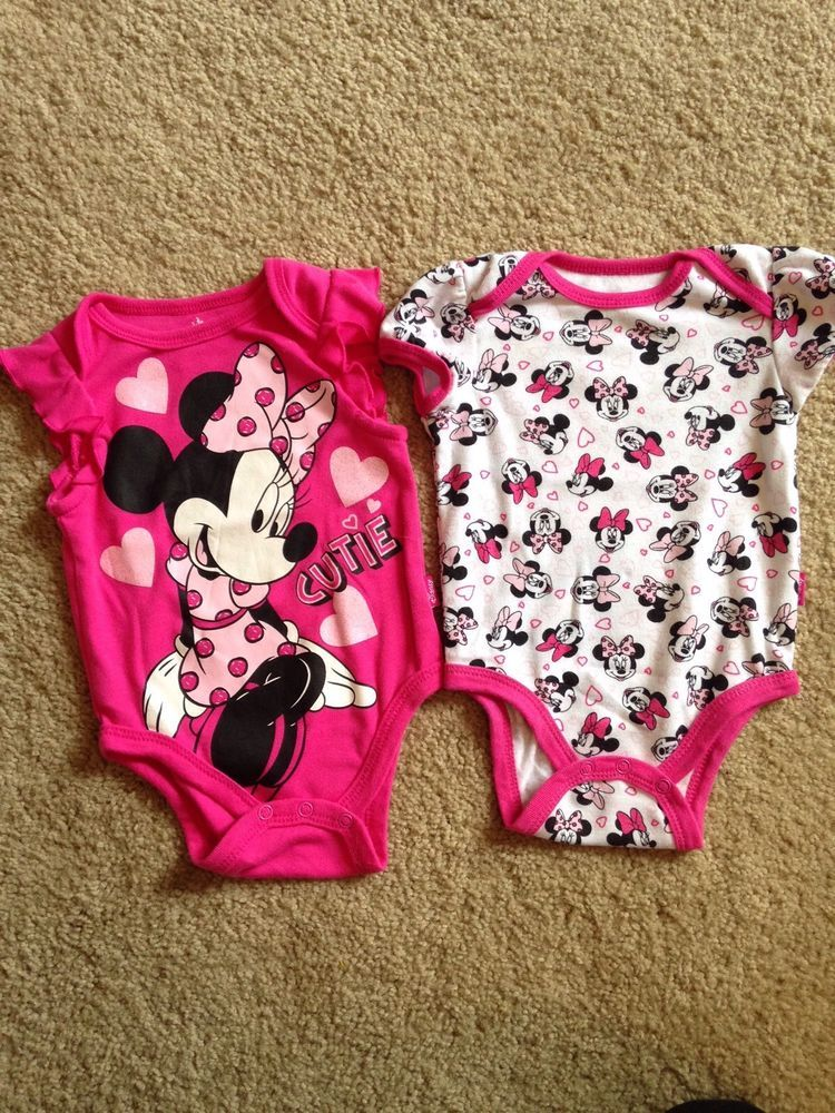 Disney Minnie Mouse Baby Girl Clothes Outfit Set Bodysuit Size 3 6