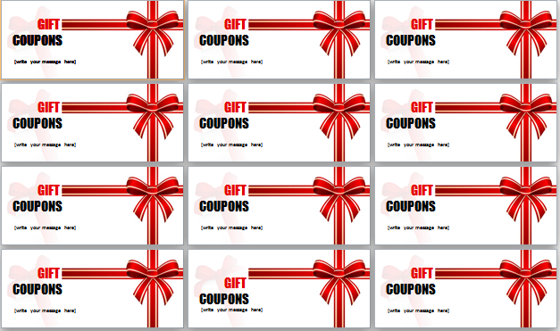 Great Gift Coupons Template At Word Documents.com In Coupon Word Template