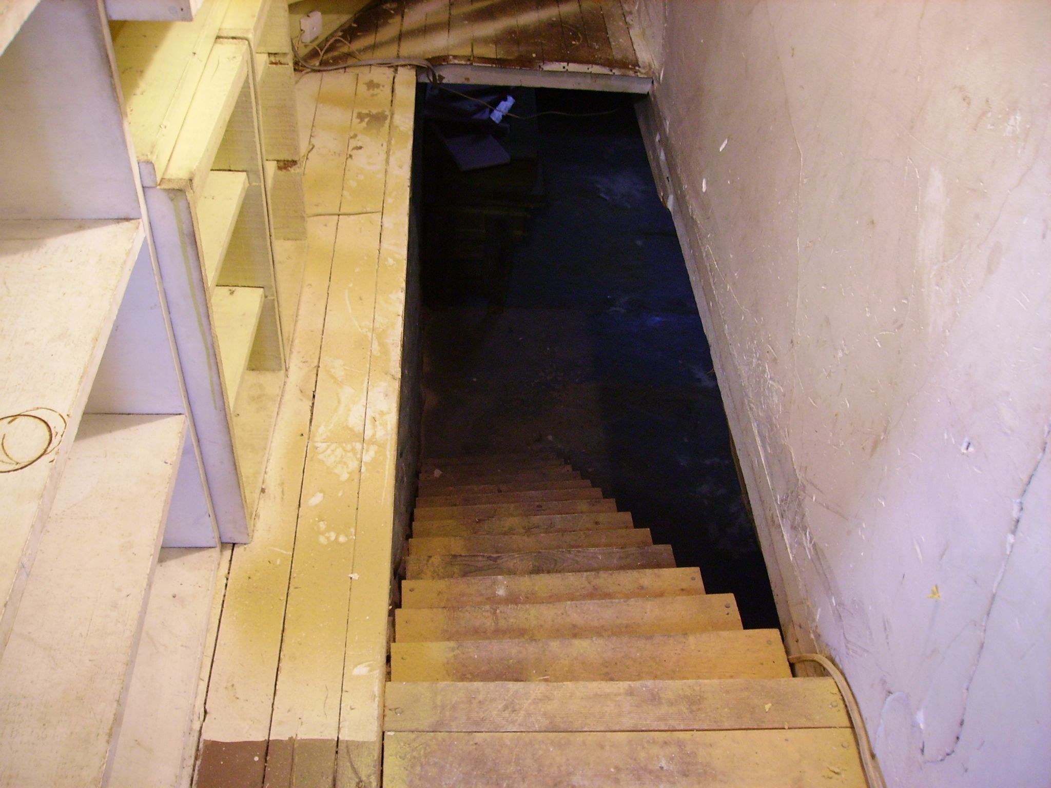 Beau Michigan Farmhouse Reno: Stairs Going Down To The Basement...scary!