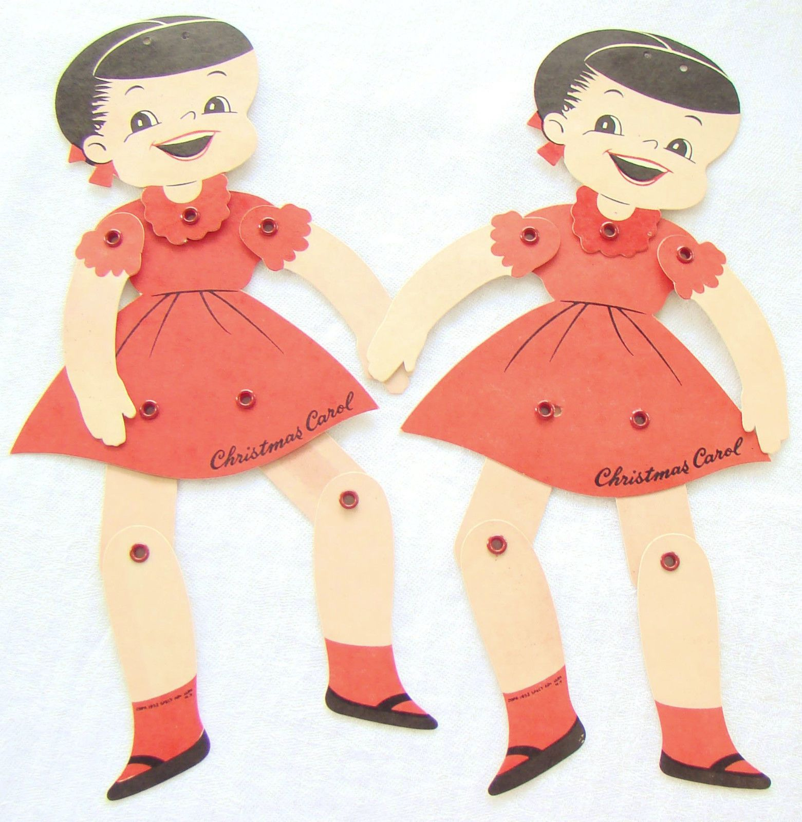 Two Authentic Vintage 'Christmas Carol' Retro Dancing Paper Puppets | eBay