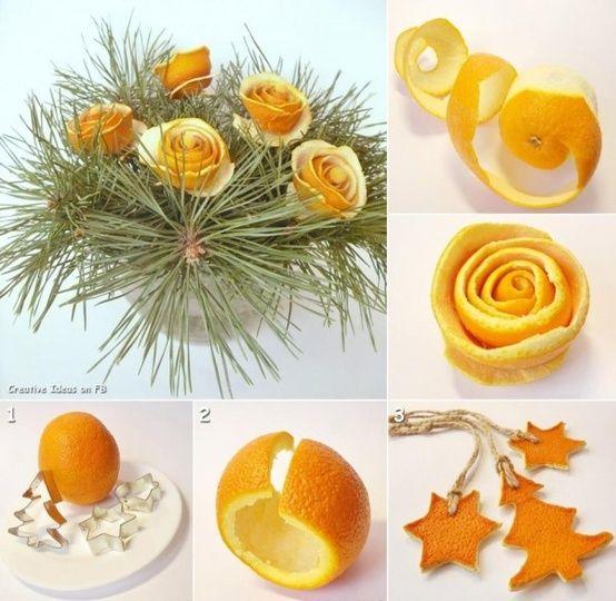 decorazioni con buccia di arancio e aghi di pino