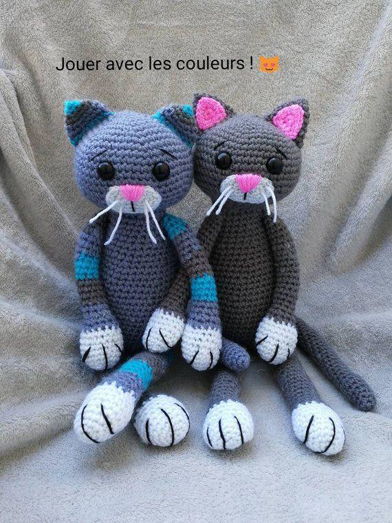 Tutoriel/Pattern Amigurumi chat PDF Français US English   Chat crochet, Tricot chat et Poupées ...