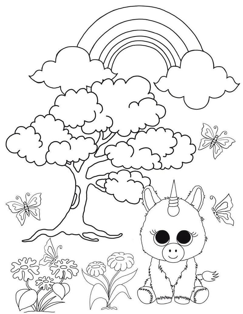 Ty Pixy The Unicorn Beanie Boo Coloring Picture Unicorn Coloring Pages Dog Coloring Page Teddy Bear Coloring Pages