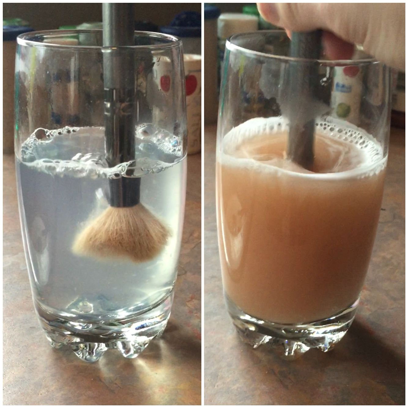 DIY Makeup brush cleaner! 1 cup of warm water 1 table