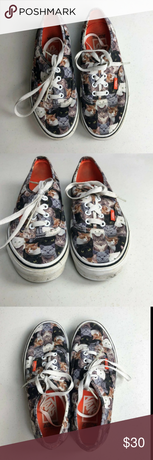 Vans Aspca Cat Kitten Kitty Lover Printed Sneakers Condition Some Light Wear As Shown In Photos Details These Are Fun Cat Print Sneaker In 2019 Sneakers Vans Cats Kittens
