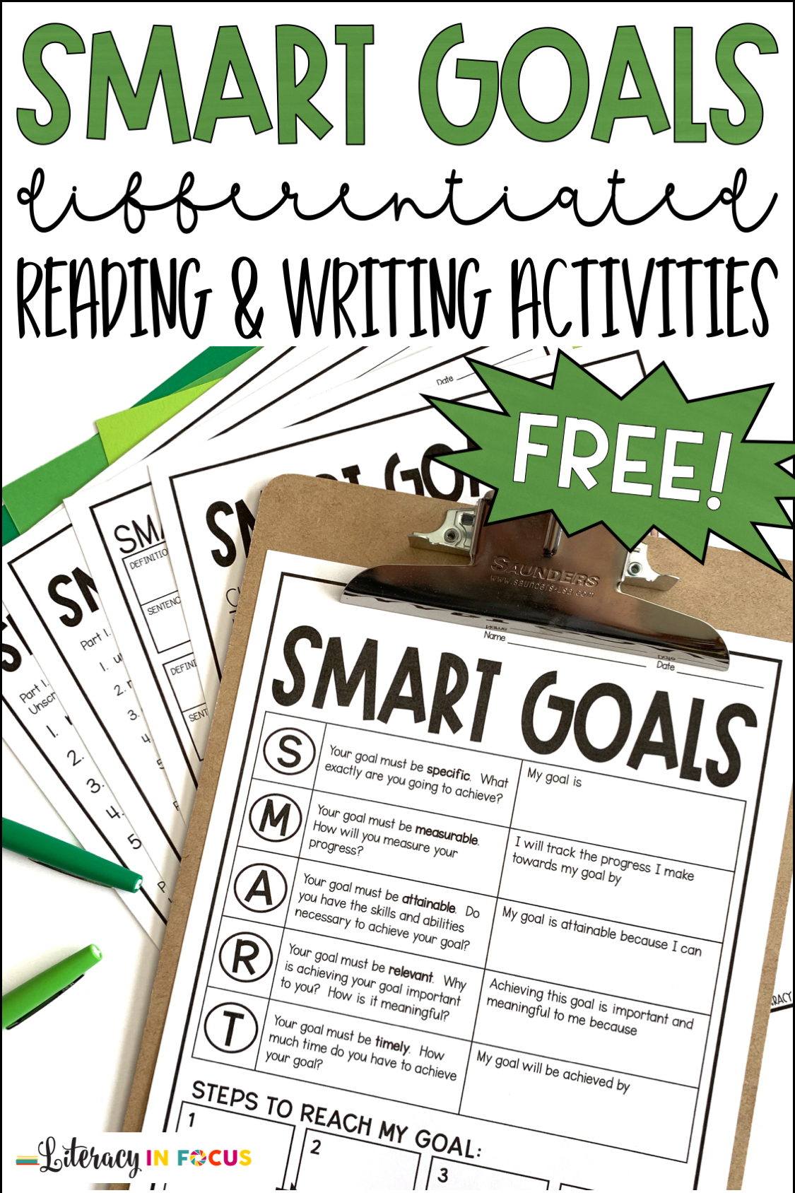 SMART Goals Template and Activities Informational Text