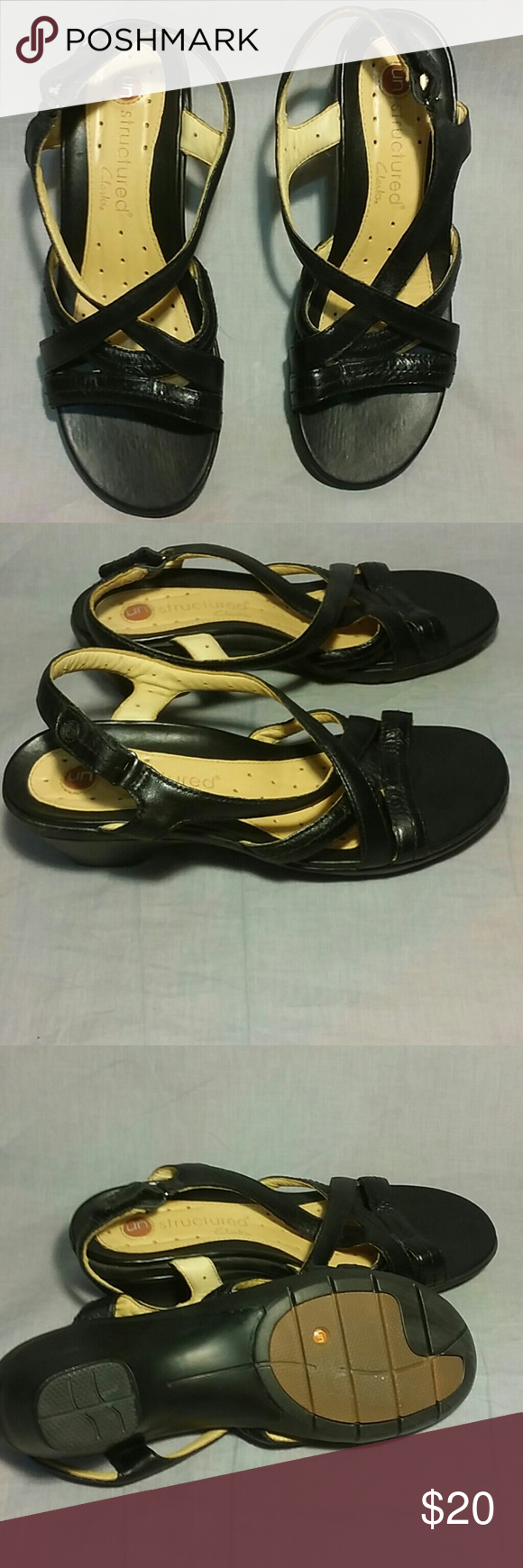 74b786f5538 Structured Clarks sandals black leather size 7 M Women s structured Clarks  sandals black leather size 7