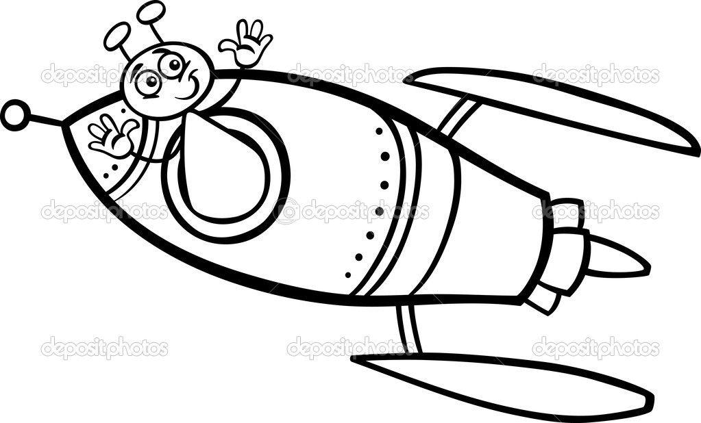 Alien in rocket cartoon coloring page — Stock Vector