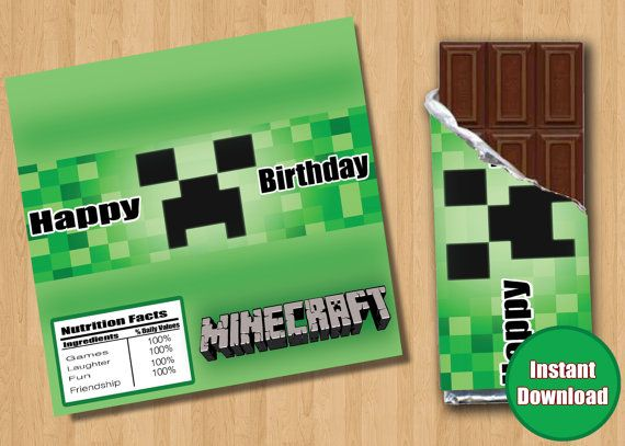 Instant Download - Minecraft Candy Bar Wrappers ...