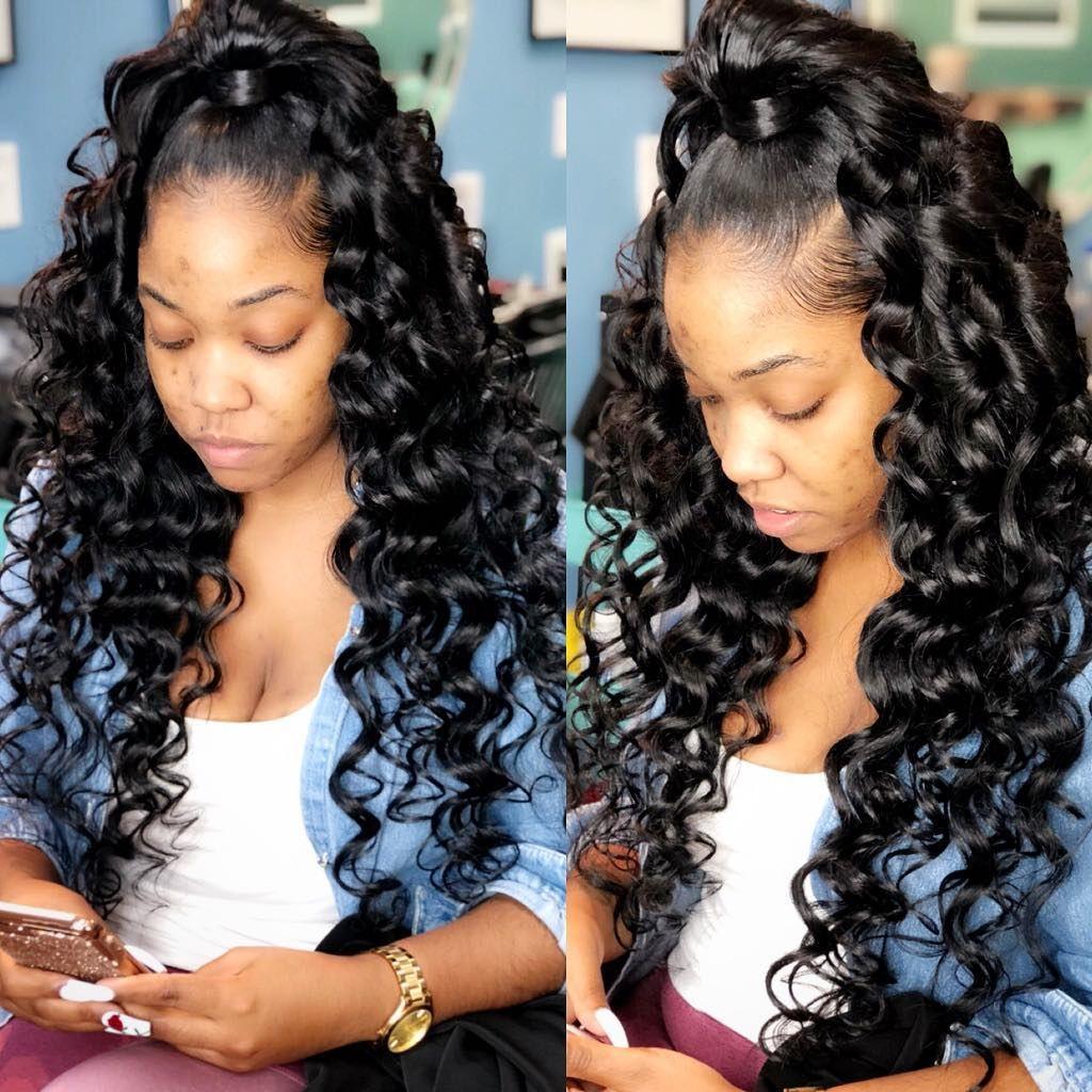 Erica Speaker On Instagram Half Up Half Down Sew In Partial Installment Hairstylisto Half Up Half Down Hair Prom Half Up Half Down Hair Weave Hairstyles