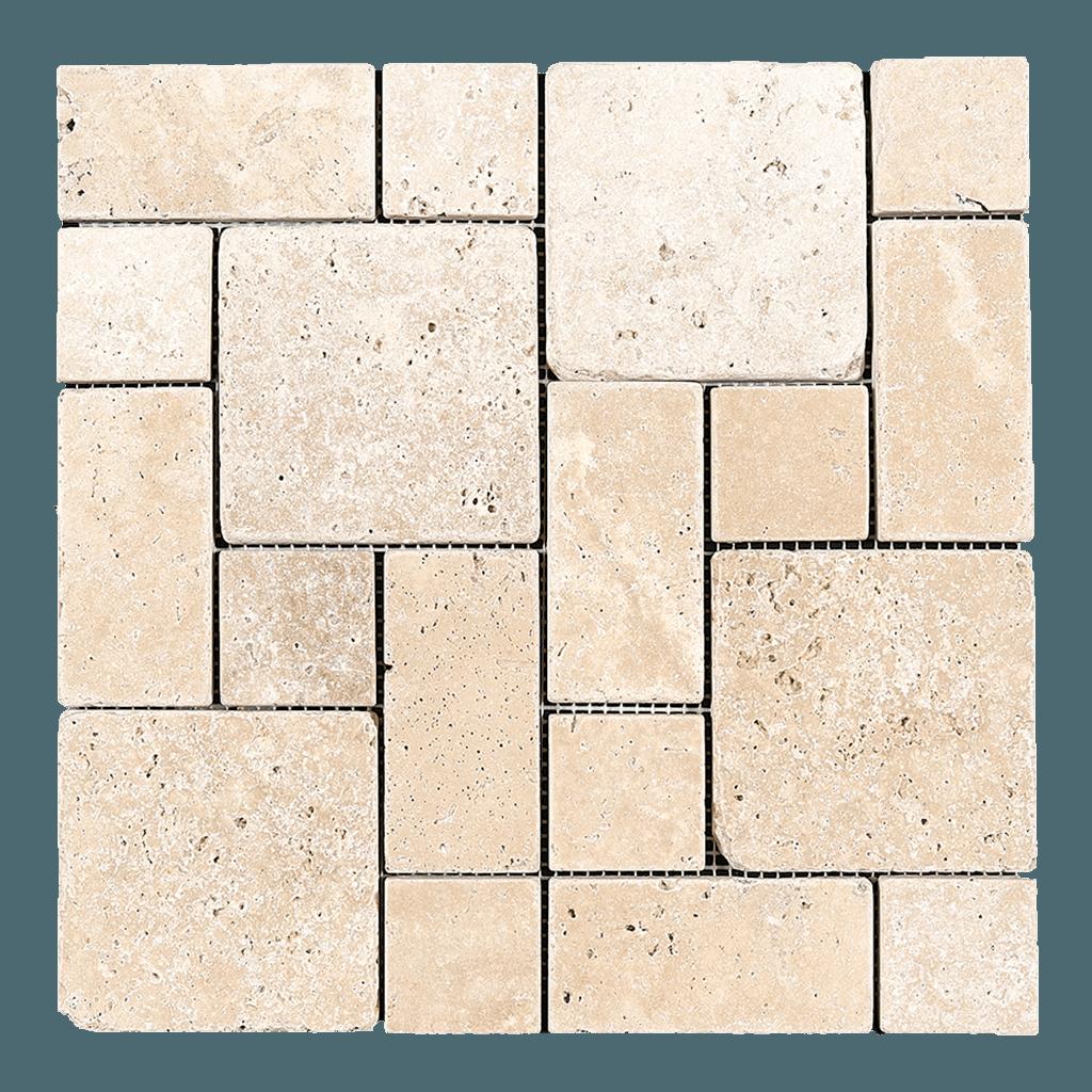 Ivory Travertine Mosaic Tile Mini Roman Pattern