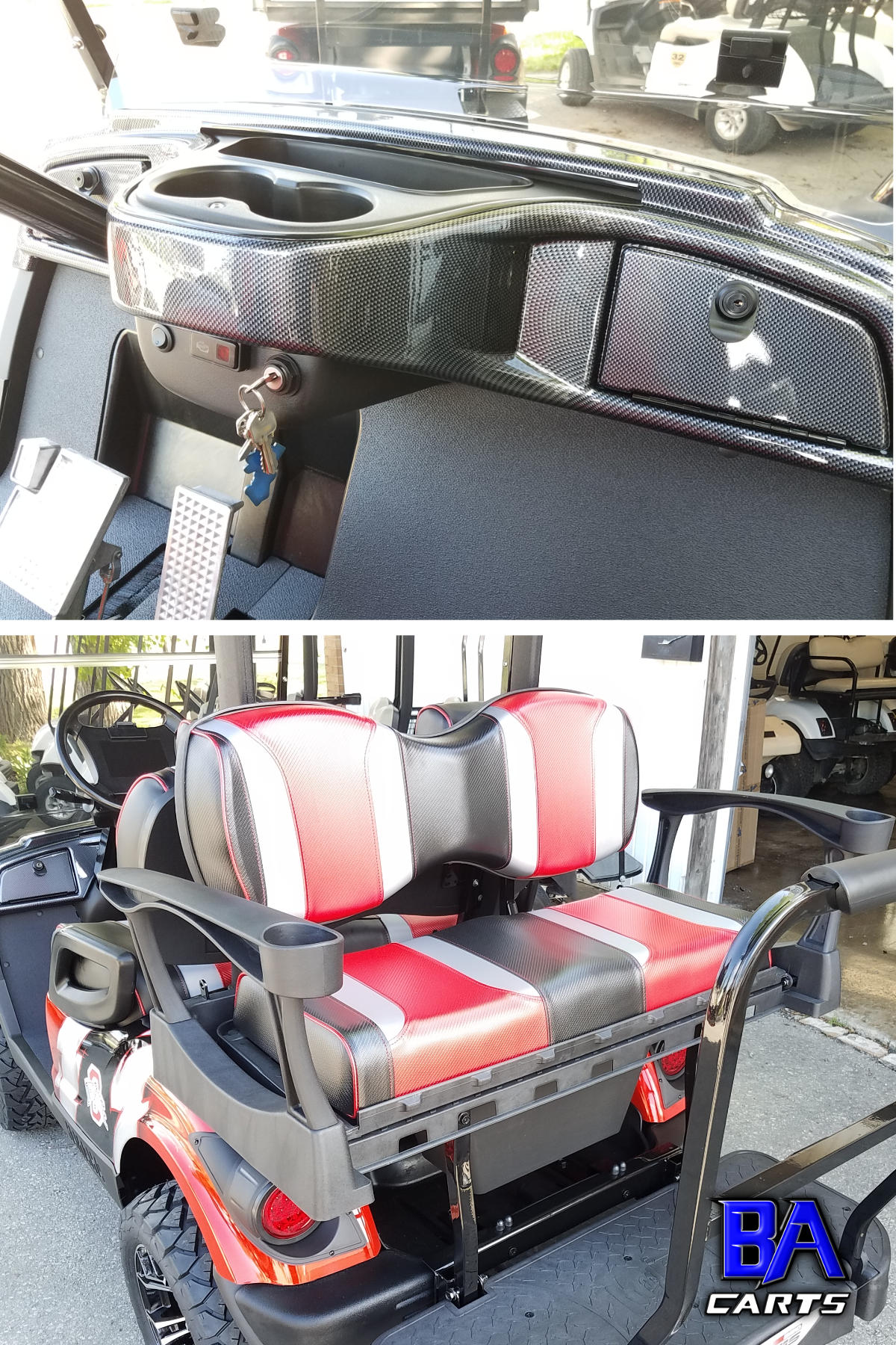 Ohio State Golf Cart Dash And Back Seat Ba Carts Yamaha Golf Carts Golf Carts Yamaha