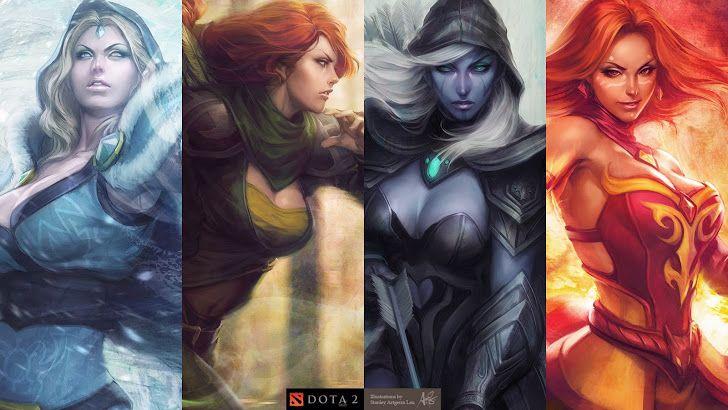 Crystal Maiden Wind Runner Drow Ranger Lina Inverse DOTA 2 Girl Video Game HD Wallpaper Desktop PC Background 1296