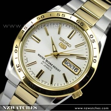 d558063ff Seiko 5 Two Tone White Face Day Date Mens Watch SNKE04J1 SNKE04 in ...
