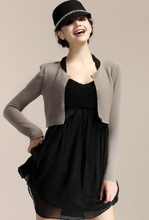 Collarless cropped jacket combined with a short sleeveless dress ...