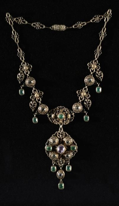 An Arts and Crafts silver gilt, aquamarine, chalcedony and sapphire necklace, by Bernard Cuzner, Birmingham, England, circa 1912. #Cuzner #ArtsAndCrafts #necklace