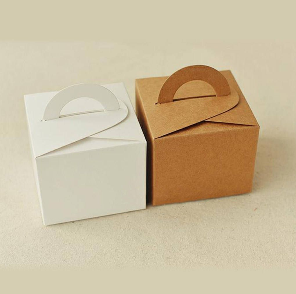 20 Kraft / White Paper Box with Handle - Party Wedding Favors Gifts ...