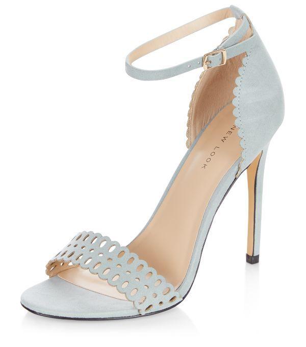 ac01186347fe6 Pale Blue Suedette Laser Cut Out Heeled Sandals