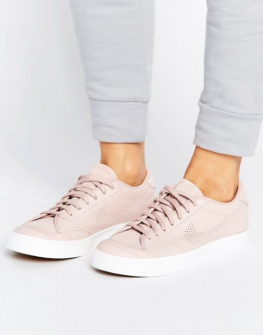 Women Nike All Court Premium Trainers With Perforated Swoosh In Pink