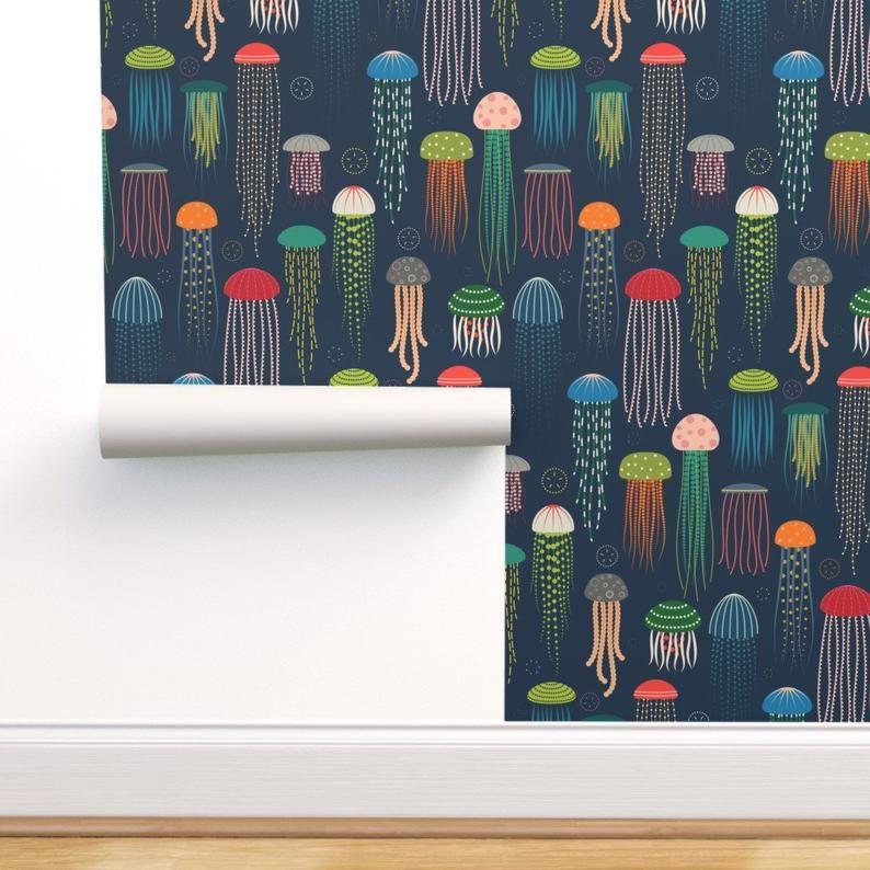 Jellyfish Wallpaper Just Jellies Jellyfish By Katerhees Etsy Self Adhesive Wallpaper Wallpaper Roll Peel And Stick Wallpaper