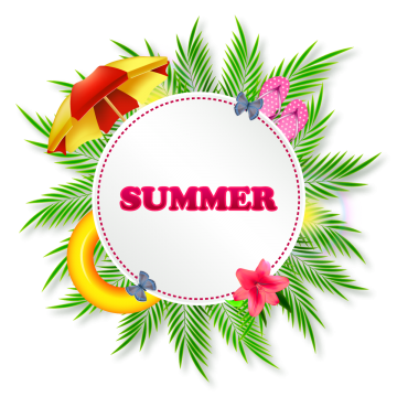 Summer Sticker Or Poster With Palm Leaves, Summer, Round