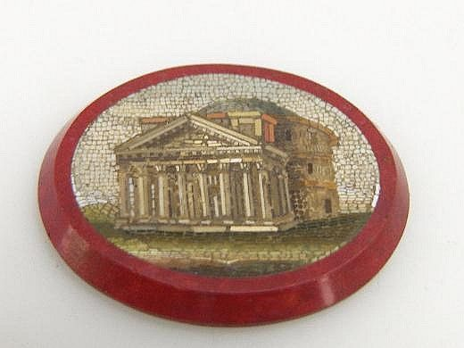 A small architectural micromosaic panel, oval,
