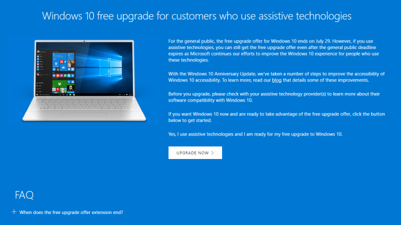 You Can Still Get Windows 10 For Free If You Use Assistive Technologies Windows 10 Assistive Technology Microsoft