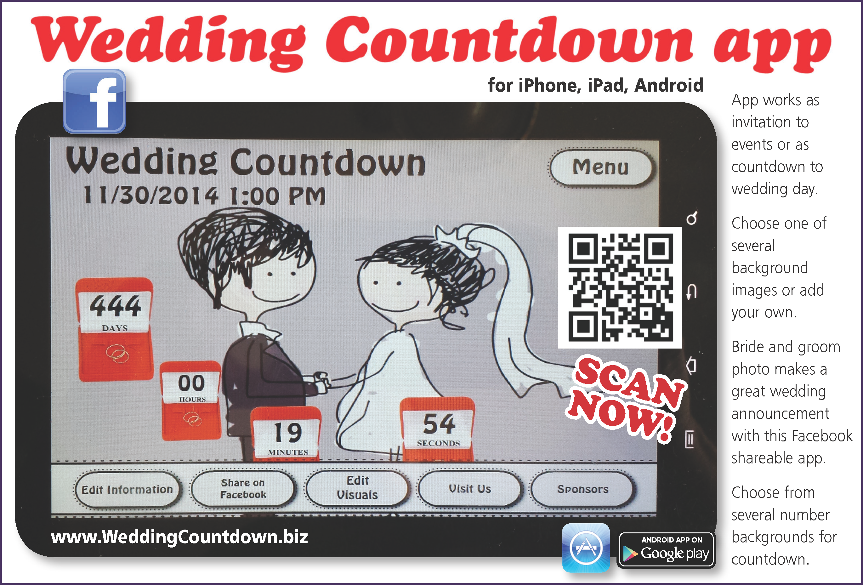 Countdown App For Iphone Ipad Android Https Play Google Com Store Apps Details Id Air Wedding Countdown Digital Wedding Invitations Wedding Reception Menu