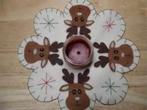 Image Detail for - CHRISTMAS MOOSE FACES FELT PENNY RUG, CANDLE MAT OR TABLE CENTER PIECE ...