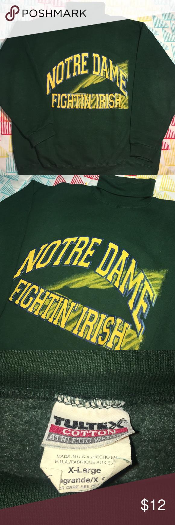 Notre Dame Fighting Irish Turtleneck Sweatshirt Size XL - Condition 9/10 tultex Shirts Sweatshirts & Hoodies