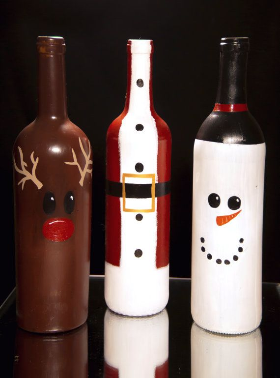 a perfect addition to your holiday decor or a merry gift for those deer to you rudolf santa and frosty are hand painted and - Christmas Wine Bottle Decorations
