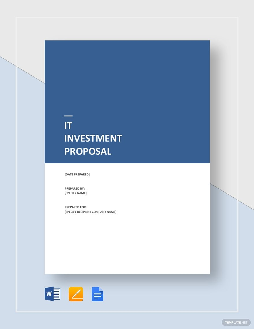 It Investment Proposal Template Free Pdf Word Apple Pages Google Docs Proposal Templates Proposal Cover Proposal Design Business proposal cover page template