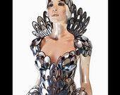 art nouveau inspired corset , modernism burlesque performer