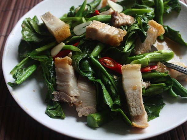 My Thai: Stir-Fried Chinese Broccoli with Crispy Pork Belly