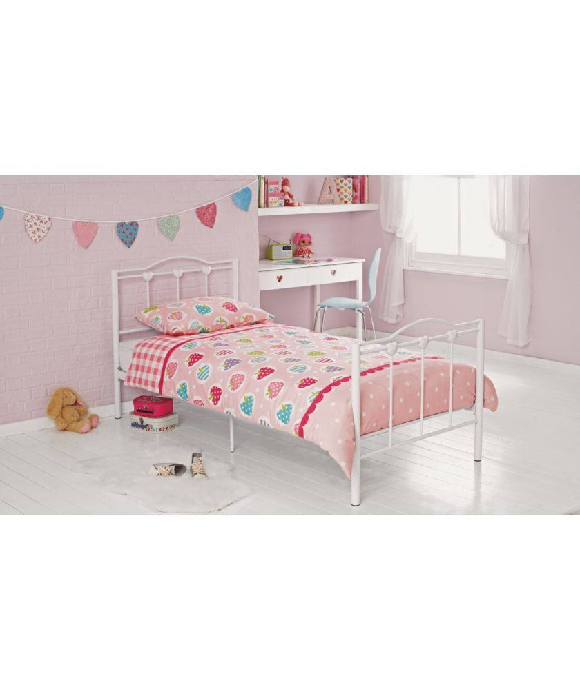 Phoebe White Single Bed Frame With Bibby Mattress