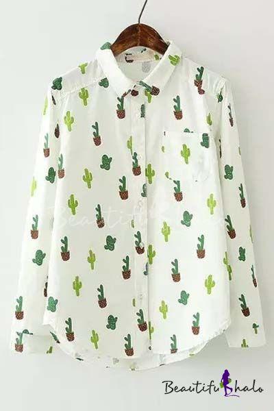 6d9c5da6465 New Arrival Cute Cactus Print Long Sleeve Lapel Shirt | Fashion in ...