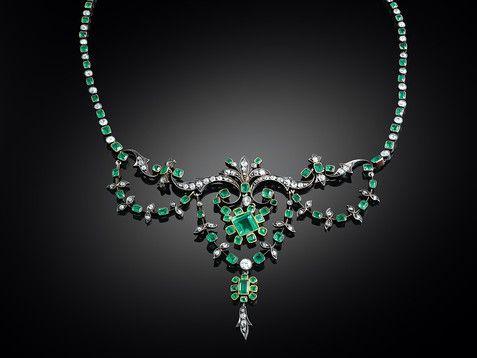 Estate Jewelry, Emerald Jewelry, Emerald Necklace, Victorian Jewelry ~ M.S. Rau Antiques