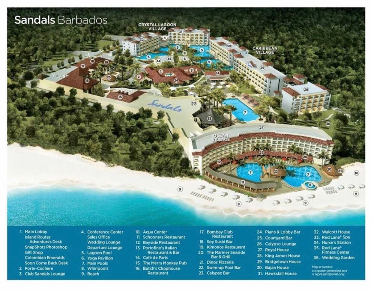 Sandals Barbados Resort Map